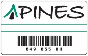picture of sample PINES Library Card with link to application for a PINES library card