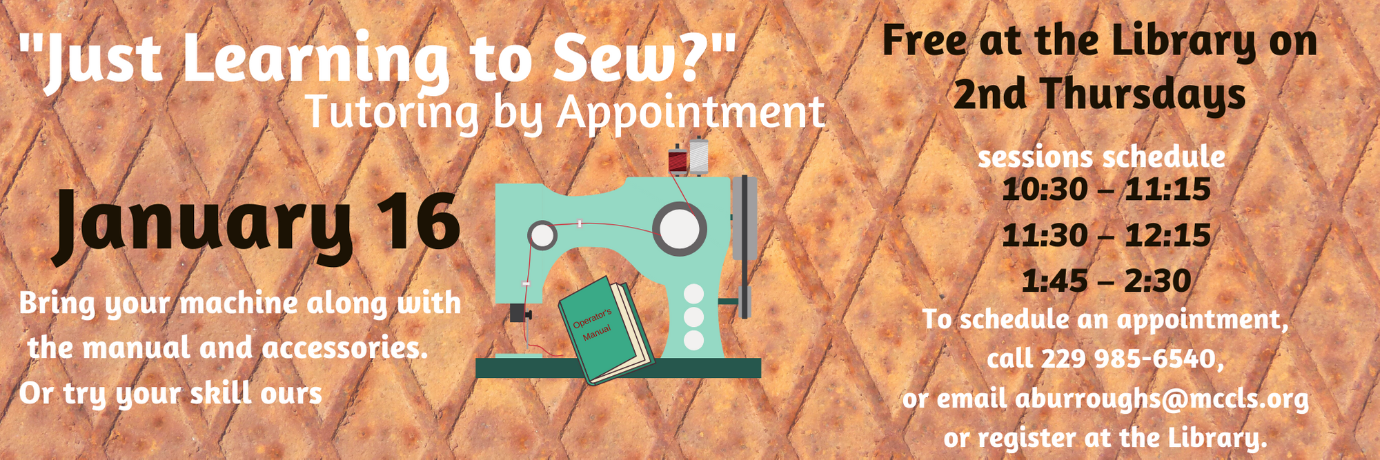 Just Learning to Sew (by appointment) @ MCCLS | Moultrie | Georgia | United States